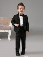 Wholesale 2016 High quality Luxurious Black Ring Bearer Suits cool Boys Tuxedo With Black Bow Tie kids formal dress boys suits fashion kids suits N4