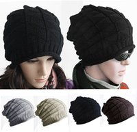 Wholesale Hot Sales Unisex Women Ladies Men Thick Warm Hat Retro Cable Knitted Baggy Slouch Beanie Caps ax49