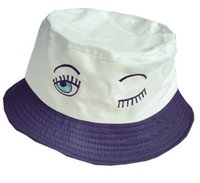 Cheap Wholesale-Free shipping 2015 Big eyes blink lashes lovely embroidered bucket hats sun bucket hat for women