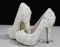 Wholesale Hot Sale White Wedding Shoes Luxurious Crystals and Pearls High Heels Fashion Handmade Ivory Bridal Shoes Sexy Evening Party Shoes