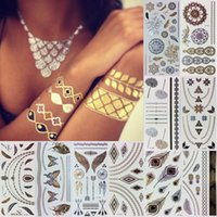 art jewelery - Fashion Gold Temporary Tattoo Sticker Body Art Skin Jewelery Flash Tribal Tattoos Waterproof Metalic Choker Tatoo