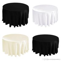 lace tablecloth - Free by DHL pieces Tablecloth Table Cover Round Satin for Banquet Wedding Party Decoration White Black Wholesales quot CTH