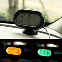 Wholesale 150PCS Car Digital Backlight LCD Voltmeter Thermometer Voltage Temp Meter Alarm