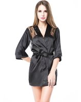 Wholesale Women sleepwear Charmeuse sleepwear robe with plunging back Lace detail and matching g string Black Red SL8004