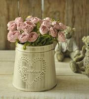 antique garden planters - Zakka Retro vintage antique finish metal flower pots planters home garden decoration pots with handrail artificial pots