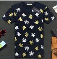 Wholesale Sale Fashion women men weed leaf print galaxy brand short sleeve d t shirt tops colors Plus Size M L XL