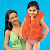 Wholesale Swimming PVC Children Inflatable Life Jacket Red For Boy amp Girl