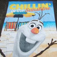 Wholesale Frozen Bath towel snow Romance olaf cute cartoon beach towel cotton big towel cm Children s Towels