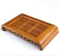 Cheap Wholesale-Bamboo Tea Tray Chinese Kungfu Tea Board. Tea Serving Trays Yellow Tea Tools,Hold Water 40cmX22mX6cm Free shipping!!!