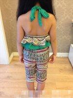 Wholesale 2015 NEW ARRIVAL baby girl kids Korean Bohemia Jumpsuits romper overall onesies one piece zig zag wave lotus leaf sleeveless lace rhombus