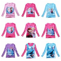 Wholesale Kids T shirt Girls Ice and Snow ELSA ANNA Long Sleeve Basic T shirt Children Autumn and Winter Cotton and Round Collar Shirt