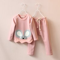 Cheap 2015 new arrival baby girls autumn casual suit sets children girls print koala hoodies+solid long pants clothing sets kids clothing