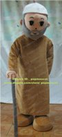 Cheap Kind Water Pink Old Man Geezer Grandpa Mascot Costume Adult Size With Brown Robes Gray Whiskers Gray Walking Stick No.6115 FS