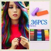 Wholesale 36 Colors short hair Fashion Hot Fast Non toxic Temporary Hair Chalk Dye Soft Pastel DIY with retail box set set