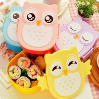 plastic lunch box - 20pcs Microwave Bento box Cartoon cute owl Bento Lunch meal box tableware Easy Open microwave oven