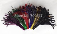 Wholesale New cm Artistic Rooster Tail Feather Cutting Flower Coque Fish Bone Bunch colours available Craft Millinery