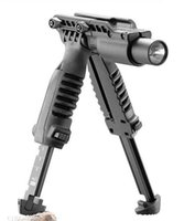 Wholesale T POD in Foregrip Bipod picattinny rail with torch mount Flashlight Light Holder for mm Rifle Black