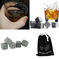 beer bulk - Hot Sale Whiskey Stones Rocks Glacier Cold Ice Cubes Soapstone Bulk Wine Beer Drink Cooler Bar With Velvet Bag