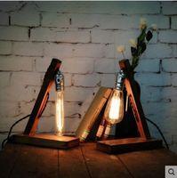bamboo knobs - Vintage Edison Table Lamp In Wood Bamboo Tafellamp Wood Table Lamps For Living Room Lamparas Abajur Luminaria De Mesa