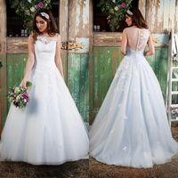 aqua garden - 2016 Spring Summer Wedding Dresses Plus Sizes Colorful Aqua Bridal Gowns Illusion Neck Bateau Lace Appliques Wear with Buttons