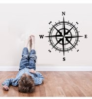 autocollant mural achat en gros de-2017 New Arrival Nautical Compass Wall Decal Nautical Trendy Black Décorable Home Decor 60 * 60cm Black Wall Sticker