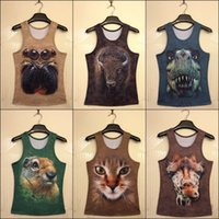 Wholesale New men women summer vest D novelty print animals cat rabbit dragon big face funny sleeveless shirts casual tank tops male