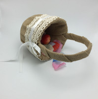 gift basket supplies - New Vintage Hesian Burlap Wedding Petal basket Flower girls basket Bridal Decoration Supplies With Gift Box Hot sale