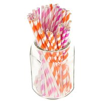 Wholesale 100pcs pack Pieces Decorations Colored Patterned Striped Drinking Paper Straws for Valentine s Day Birthday Party Supplies
