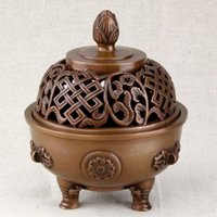 Wholesale Chinese antique Tripod Copper incense burner stove lotus buddhist temple Cu incense burner supplies aromatherapy plate furnace