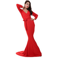 skirting direct - Factory direct delivery explosion models ladies fashion Slim V neck silk stitching fishtail skirt low cut evening dress star models