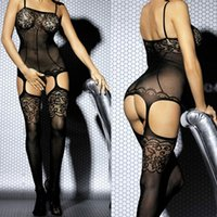 Wholesale Hot Fashion Women Sexy Lingerie Spaghetti Strap Hollow Out Body Stocking babydoll Bodysuit Underwear Black GI006