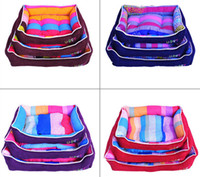 Wholesale Lovely Rainbow Cotton Flannel Pet House Warm Dog Cat House Kennel Soft Washable Dog Cat Bed Nest For Winter Color Size Min Order