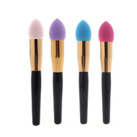 aluminum sponge - NEW Fashion Synthetic Hair Aluminum wood Cosmetic Makeup Brushes Set Liquid Cream Foundation Sponge Make up Brushes Colors