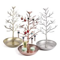 metal jewelry stand - Retro Earring Ring Jewelry vintage Bird Tree Stand Display Organizer Holder Show Rack Jewelry Holder Ring Display