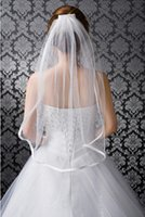Wholesale New Simple Stock White Ivory Layer Ribbon Edge Wedding Bridal Veil with Comb Elbow Length cm
