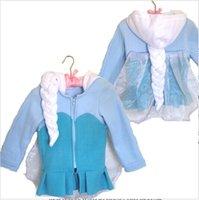 Wholesale frozen coat New girls Frozen Hoodies Elsa costume jacket clothing for children girls hoodies Fleece baby kids coat