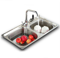 Wholesale 304 stainless steel kitchen sink forming one thick brushed slot package vegetables basin sink with foucet