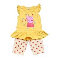 Bambini vestiti ragazze cotone breve estate nuova Peppa Pig t-shirt + Leggings 4 colori 4pcs / lotto
