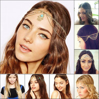 Wholesale 2015 Fashion Bohemian Tassel Chain HairBand Runway Style Wave Shiny Piece Women Dance Hair Sequins Wedding Accessories Head Chain Jewelry