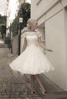 sexy wedding dresses - 2015 High Quality Jewel Neck Short Sleeve Vintage Lace Wedding Dresses Ribbon Sash Tea Length A Line Short Bridal Gowns Custom Made