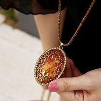 amber necklace for sale - 2015 Hot Vintage Amber Hollow Pendant Necklace Women Fashion Jewelry For Sale
