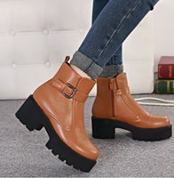 Cheap Hot!stylenanda fashion buckle platform chunky heel shoes brown women boots black leather boots boots woman