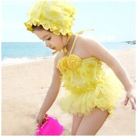 Girl One-piece 2T-3T 2014 New Arrival Children's Swimwear Girls' Two-piece Swim Skirt Lovely Princess Lace Swim Suits with a Bathing Cap