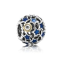 14k gold - pandora Sterling silver And k Gold Midnight Blue Stardust Loose Charm Bead Fits European Diy Charm Bracelets Charm Necklaces LW412