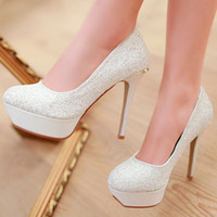 Wholesale Sexy Sparkling Women Waterproof Platform Night Club High Heels Fashion Ladies Sequins Dress Shoes Formal Occasions White Blue Avaliable