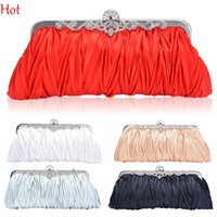 ladies fashion evening bags - Fashion Satin Elegant Evening Bags Handbag Clutch Ladies Purse Ruffled Bag Bride Bridesmaid Wedding Bags Red Golden Crossbody Bags SV009919