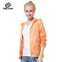 Wholesale Tectop Waterproof Ultra Light Women Running Jacket breathable Windbreaker Clothing Anti Uv Sun Protection Run Raincoat JL5048