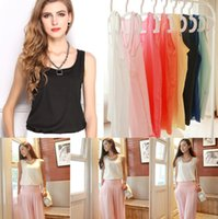 Wholesale Plus Size New Fashion Summer Women Candy Color Chiffon Shirt Vintage Loose T Shirts Tank Tops Casual Blouse Size S XXXL