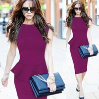 business wear - Elegant Women Celebrity Peplum Cotton Business Wear To Work Cocktail Party Casual Bodycon Fitted Sheath Wiggle Dress vestidos