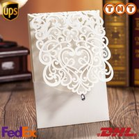 rhinestone buckles - Laser Cut White Hollow Rhinestone Wedding Invitations Wedding Supply Free Printing Birthday Invitation Lace Cards CW5001